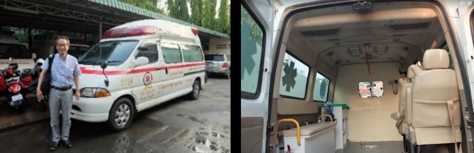 救急車,寄贈,国士館,鶴見,カンボジア,NPO,無償